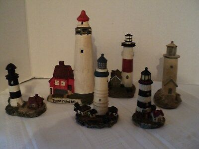 Lot of 6, Charming, Miniature Lighthouses - 5 Resin & 1 Ceramic