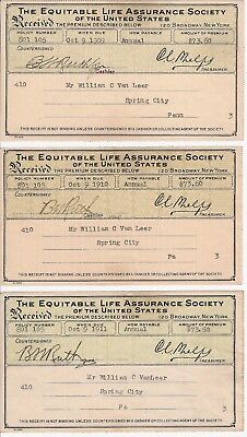 The Equitable Life Assurance Society of the U.S. receipts dated 1909 1910 1911