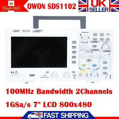 "OWON SDS1102 Digital Oscilloscope 100MHz 2 Channel 1GS/s Smple Rate 7"" LCD UK"