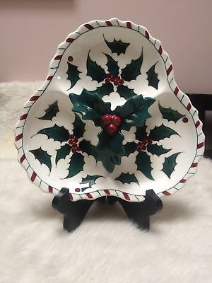 Christmas Hand Decorated Holly Berry White Plate Lefton  Vintage - Made In Japan
