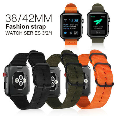 Sports Military Woven Nylon Canvas Fabric Band Strap for Apple Watch iWatch 1-4