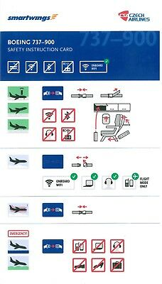 Boeing B737-900  CSA Czech Airlines / Smartwings NEW safety card
