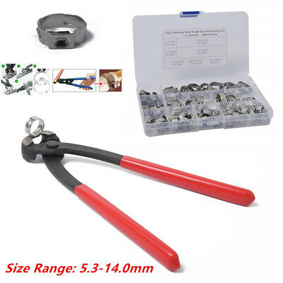 70Pcs Stainless Steel Hose Clamp 5.3-14 mm Pipe Clamps Clips Single Ear w/ Piler