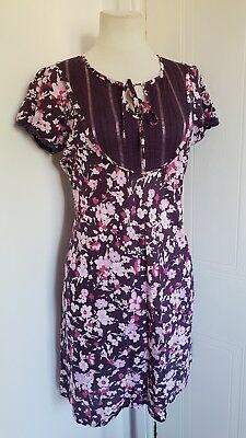 Ladies SIMPLY BE Purple Pink Floral Cotton Long Tunic Top Size 16 Casual