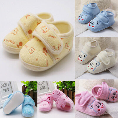 Newborn Toddler Baby Girl Boys Solid Soft Sole Prewalker Warm Cotton Shoes XI