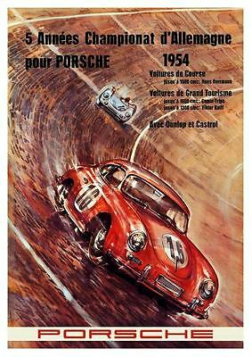 Porsche 356  *POSTER* 1954 Grand Tourisme Race car - AMAZING ART PRINT French