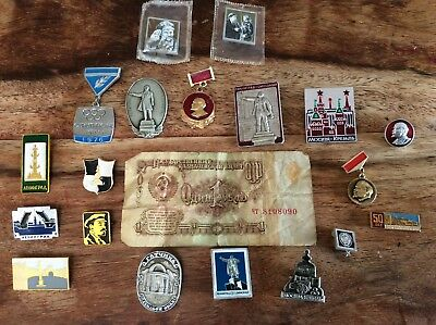 Russian pins and ruble from 1986 visit