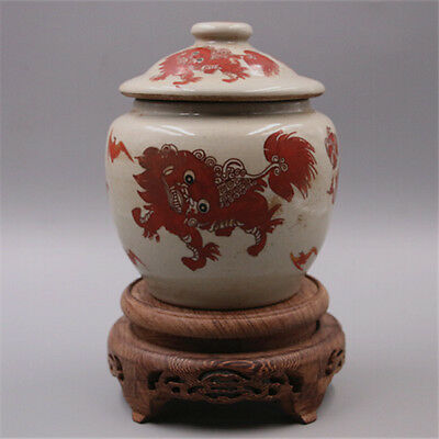 Chinese Old Marked Famille Rose Lions Play Ball Pattern Porcelian Lid Jar