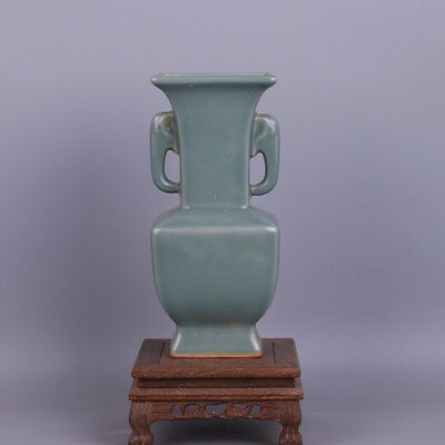 Chinese Old Longquan Kiln Plum Green Glaze Elephant-Ear Porcelain Vase
