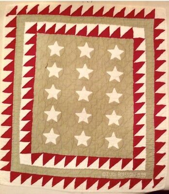 JUDI BOISSON Homespun Patriotic Stars Quilted Wall Hanging Country Chic $98