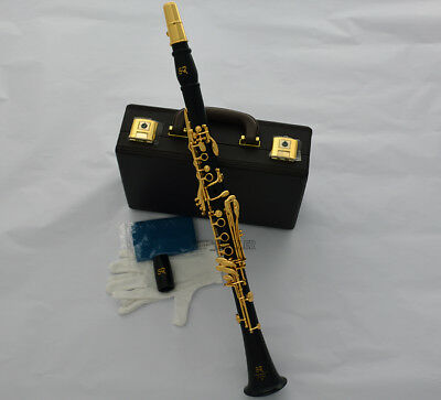 Concert Pro Black Wooden Gold Plated Bb Clarinet 19 key Italian pad With Case