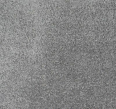 SOFT 13mm Thick Light Grey Action Back Saxony 4m Wide Carpet Remnant/Roll End