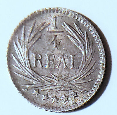1896 Guatemala 1/4 Reale Silver Volcano Coin Free Shipping