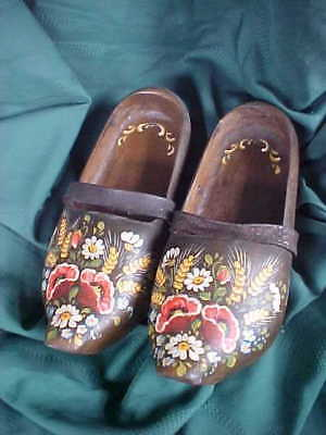 Lovely Antique Wooden Hand Carved & Painted Clogs French Dutch Floral w Leather