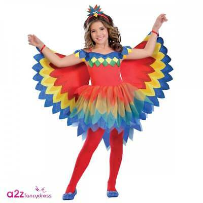 Girls Pretty Parrot Fairy Costume Tutu Animal Bird Jungle Kids Child Fancy Dress
