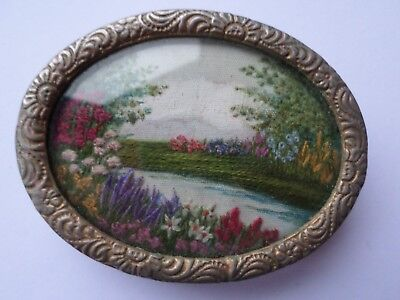 Small antique Victorian or Edwardian embroidery brooch river scene