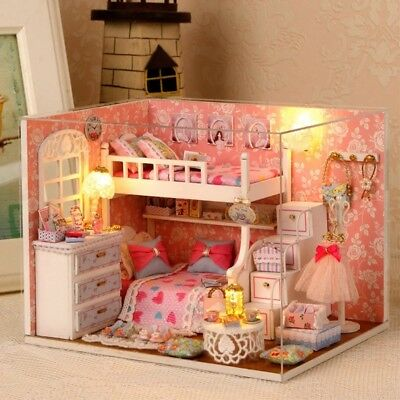 Handmade Wooden Furniture Miniature Doll House Barbie Kit Kids Play FREE SHIP