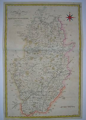Nottinghamshire: antique map by John Cary, 1805