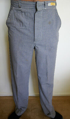 Chef Pants Checkered Black / White Snap Closure 50/50 Poly/Cotton SIZE 32