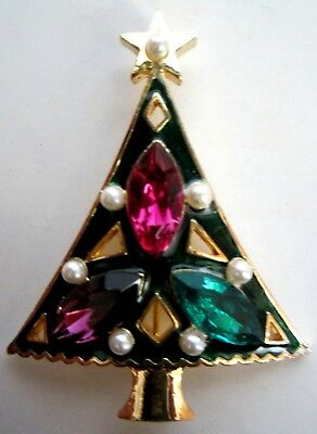Vintage signed EISENBERG ICE Green Enamel & Rhinestone CHRISTMAS Tree BROOCH PIN