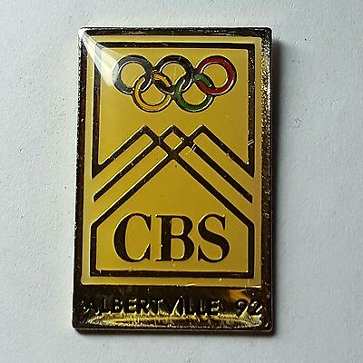 1992 Olympics Press Media Pin CBS Broadcasting Albertville France New in Plastic