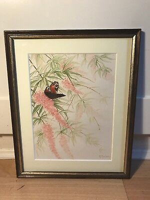Lovely Signed Watercolour Painting Of Butterfly In Buddleia In Wood Frame