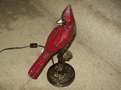 """Stained Glass Tiffany Style Cardinal Lamp 13.5"""" Tall Night Light Handcrafted"""
