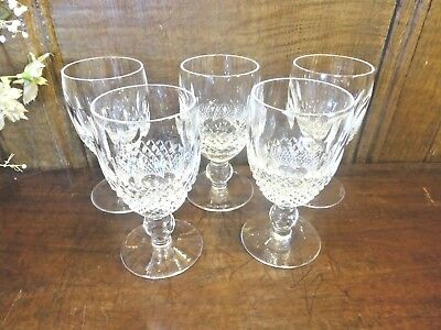 """VGC WATERFORD crystal COLLEEN SET 5 taller SHERRY GLASSES  4.5""""/2.25"""" rim/3.5 fl"""