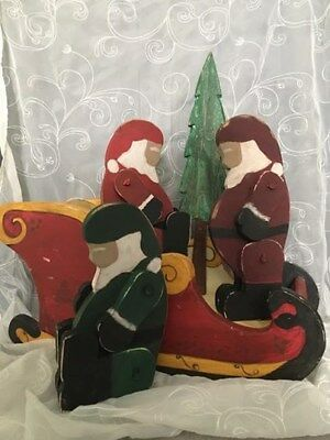 Handmade Jointed Wooden Santa Primitive Country Red Collectible Christmas