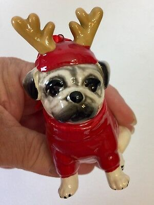 Pug With Antlers Holiday Ornament SPECIAL SALE PRICE
