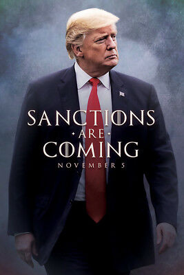 "Donald Trump Poster 36x24"" 21x14 Game of Thrones Sanctions Are Coming Print Silk"