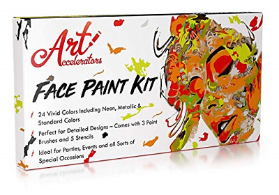 Face Paint Kit - Set of 24 Professional Face & Body Makeup Colors for Kids | & 3