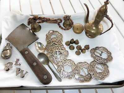 Vintage Junk Drawer all Metal  Bells India big to small Antique Meat Cleaver