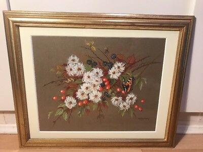 Signed Watercolour Painting Of Butterfly And Hedgerow Plants In Gold Frame