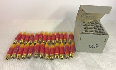 Lot of 25 Vintage Christmas Flame Bulbs; Red & Yellow in original selling box