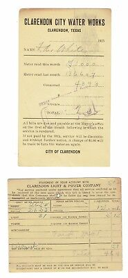 Original 1925-26 City Utility Bills from Clarendon Texas One Water One Electric