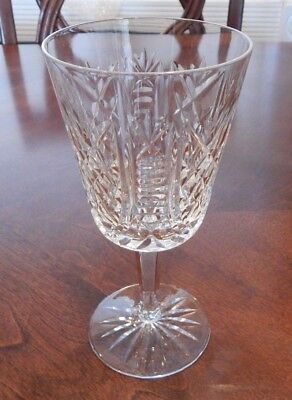 "Waterford Crystal ""Clare"" Pattern Water Goblet Glass (S) 6 7/8"" Excellent"