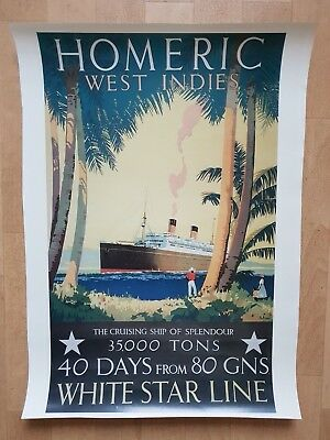 Poster White Star Line - Homeric West Indies - The Cruising Ship of Splendour
