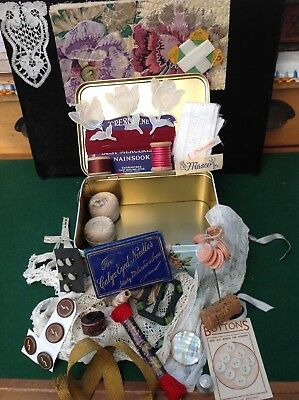 Vintage Tin full of Vintage Sewing & Haberdashery Items for Inspiring projects