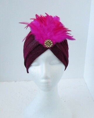 Hot Pink Black Gold Feather Turban Headpiece Fascinator 1920s Flapper Hat 6590