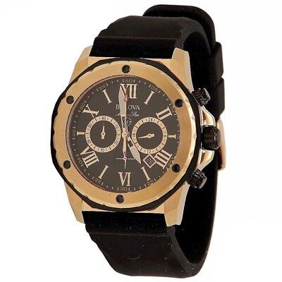 Bulova Men's Marine Star Two-Tone Black/Bronze Calander Chronograph Watch