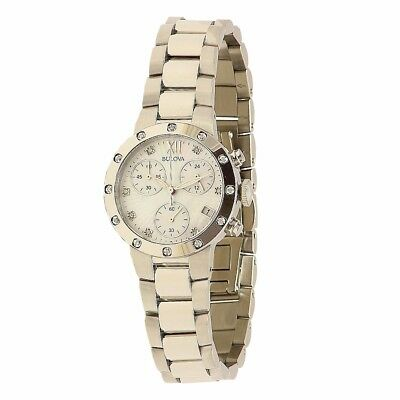 Bulova Women's Diamond Collection 98R202 Silver Chronograph Analog Watch