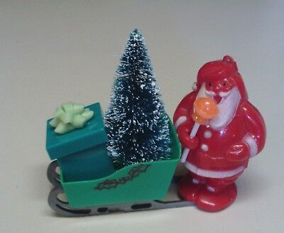 Vintage Christmas SANTA and SLEIGH  Candy Container Lollipop Holder