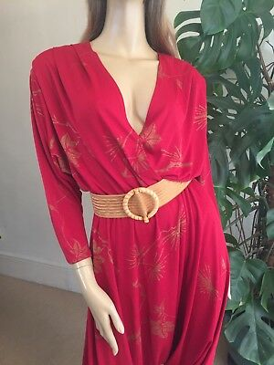 Designer Vintage 80's Dark Red Harem Pants Jumpsuit Sz 8-10UK