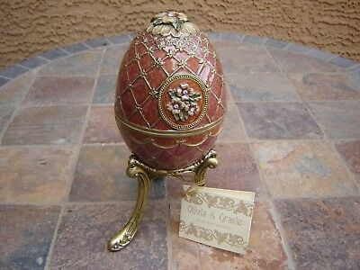 Metal Olivia & Gracie Egg Music Box Collection Waltz of the Flower w dragonfly