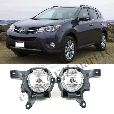 Fit 2013 2014 2015 Toyota Rav4 Front Bumper Clear Lens Fog Lights / Lamp L+R