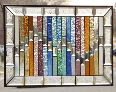 "The Gathering --Beveled Stained Glass Window Panel • 23 ½"" x 16 ½"""