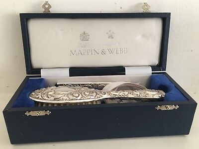 MAPPIN & WEBB STERLING SILVER BRUSH AND COMB SET - NEW In Presentation Box