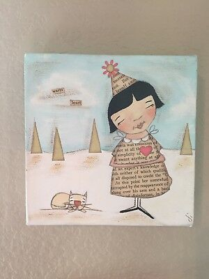 OOAK Folk Art girl with cat painting by Diane Duda