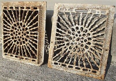 "2 ANTIQUE CAST IRON WALL GRATES Vent Salvage louvers reclaimed 8""X10"" REGISTERS"
